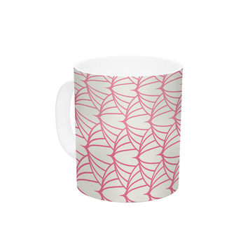 "KESS Original ""Stitches"" Pink White Ceramic Coffee Mug"