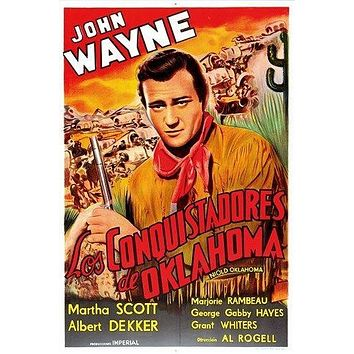 JOHN WAYNE vintage movie poster IN OLD OKLAHOMA spanish format 24X36 WESTERN