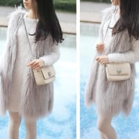 Long Faux Fur Sleeveless Vest