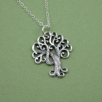Swirly Tree Necklace - sterling silver - pendant - handmade - tree jewelry