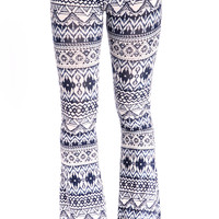 MIXED TRIBAL PRINT BELL PANTS