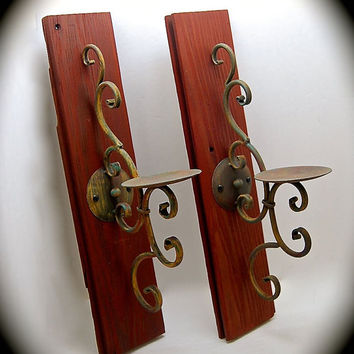 "Candle Sconce Pair Barnwood Sconce Cherry Wood Stained with Wrought Iron Swirl Comes ready to hang and includes wall Hardware 19"" Tall"