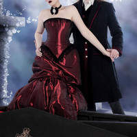 "Vampire Steampunk Dress Alternative Wedding Gown "" Elegant in Red ""-Custom to Order"