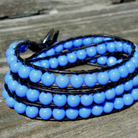 Beaded Leather 3 Wrap Bracelet with Periwinkle Blue Beads on Black Leather