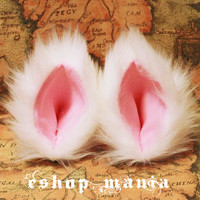 WHITE pink LONG FUR 9 cm Cat Ear Elf Gothic Hair Clip Cosplay Costumes Party Black Friday Cyber Monday