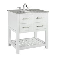 Home Decorators Collection Fraser 31 in. W x 21.5 in. D Vanity in White with Solid Granite Vanity Top in Grey-0417710410 at The Home Depot