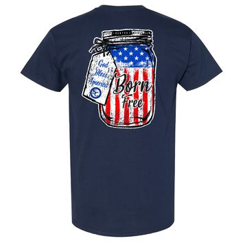 Southern Charm Collection Born Free God Bless America on a Navy T Shirt