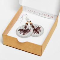 French Chandelier Earrings Chocolate Brown round dangle , Medium size 3cm Ø, gift for her under 20