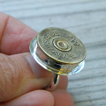 Badass 12 gauge shotgun shell ring in sterling silver setting - bronze color, size 8.5