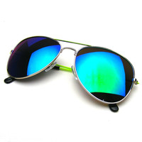 Premium Metal Teardrop Flash Revo Reflective Lens Aviator Sunglasses