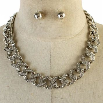 "17"" silver crystal link necklace .50"" earrings"