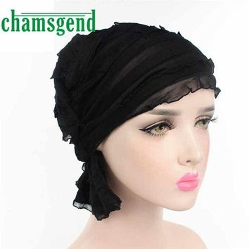 DCCKU62 2017 hat Women Chiffon Ruffle Cancer Chemo Hat Beanie Scarf Turban Head Wrap Cap Womail May25