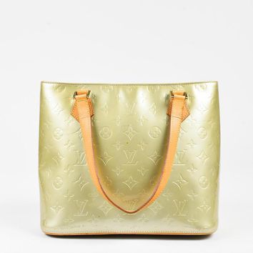 Tagre™ Louis Vuitton Gold Blue Vernis Leather Tan Handle Houston Tote Bag,wanelo love need