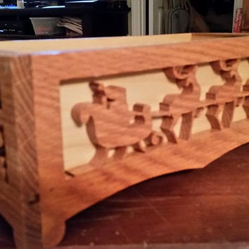 Hand Carved Wooden Christmas Boxes