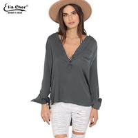 Autumn Women New Woven V-Neck Full Sleeve Shirts Women Plus Size Clothing Blouse Satin Button-up Top