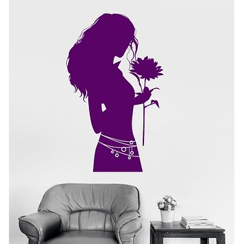 Vinyl Wall Decal Silhouette Woman with Flower Shop Stickers Mural Unique Gift (ig3930)
