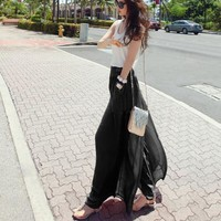 Wide Leg Chiffon High Waist Pants Long Loose Culottes