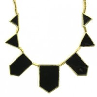 Statement Necklace Black Stations Enamel Triangle Geometric Bib Modern Triangle Fashion Jewelry