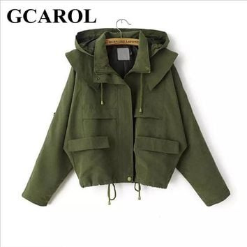 Women Euro Style Hoodies Trench Fashion Casual Draw String Coat Spring Autumn Oversize Street Wear Short Coat For Ladies