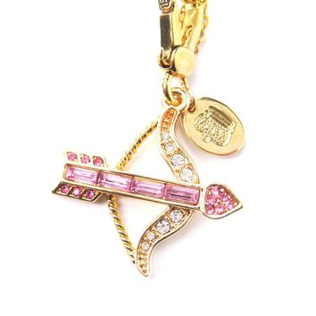 Arrow Bow Cupid Love Themed Pendant Necklace in Pink with Rhinestones | Limited Edition