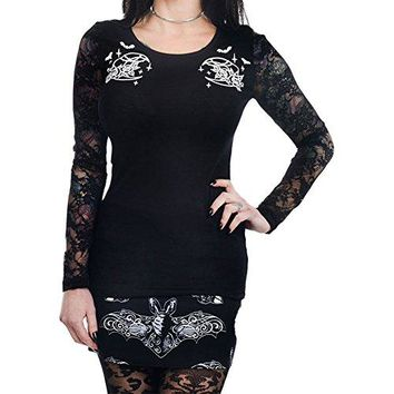 Too Fast Apparel Women's Night Creature Moon & Bats Kelly Lace Back Long Sleeve Top