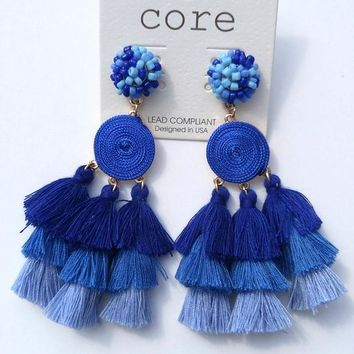 Tiered Thread Tassel Earrings - Navy