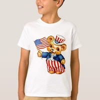 Vintage Patriotic Bear Kids T-Shirt