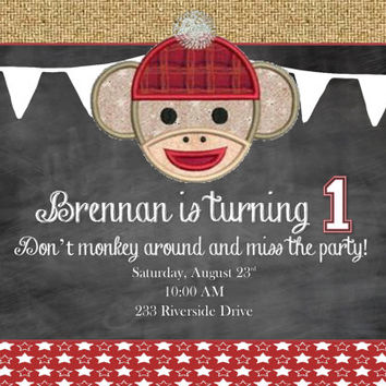 DIY Printable Sock Monkey Birthday on Chalkboard background with burlap - Can be Customized 1st 2nd 3rd etc birthday!