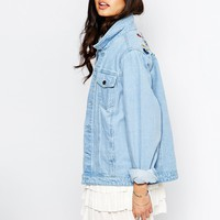 Liquor & Poker Boyfriend Trucker Jacket With Colourful Floral Embroidery