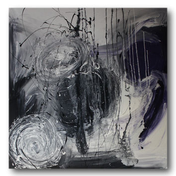Abstract art canvas painting Purple grey black 100cm x 100cm