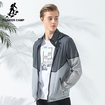 new design patchwork sun protection coat men clothing ultra thin ultra light quality jacket male