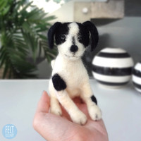 MADE TO ORDER - Needle Felted Sculptures - Lovely black and white puppy - Miniature Wool Felt B&W Dog