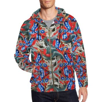 Rebel Cowboy Men's All Over Print Full Zip Hoodie