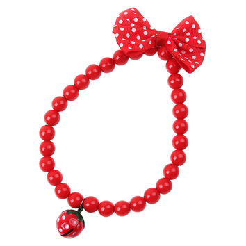 Red Pert cat dog collar Supplies Kitty Jewelry Beads Necklace With Strawberry Bowknot&Bell puppy kitty neck dress up supply