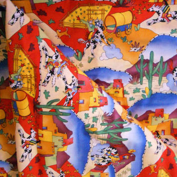 "RARE 1993 Designer Phillip de Leon by Alexander Henry Fabrics ""Desert Puzzle"" Cotton Fabric By-the-Yd Southwestern Scene Fabric Sew Supply"