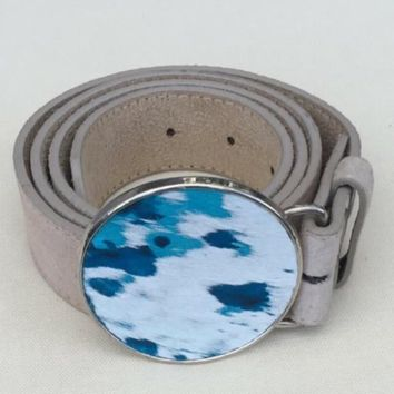 Turquoise cowhide belt buckle