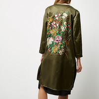 Khaki nightingale embroidered duster