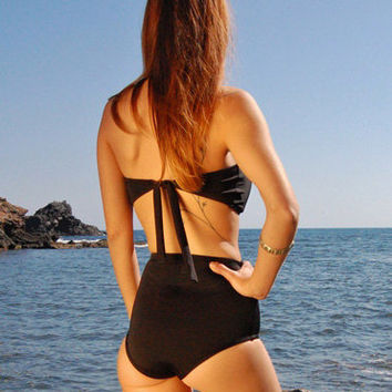 High-Waisted Moderate Bikini Bottom LOS ROQUES in Lava Black, by Makani Dream Swimwear