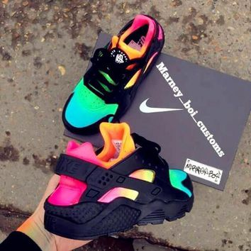 """NIKE""AIR Huarache Running Sport Casual Shoes Sneakers contrast colorful black H-AA-SD"