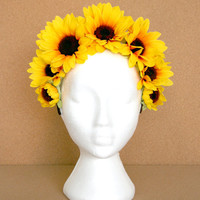 Yellow Sunflower Brown Headband Flower Crown