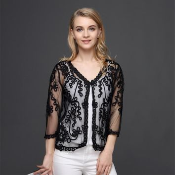 Women Party Cardigans V Neck Sleeve Embroidery Lace Mesh See Through Thin Casual Diamond Shawl Jacket Coat