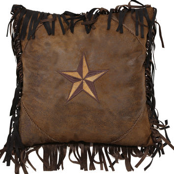 Western Brown Two Tone Star Pillow