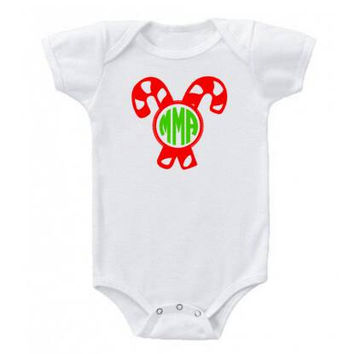 Monogrammed Candy Cane Christmas Baby Onesuit