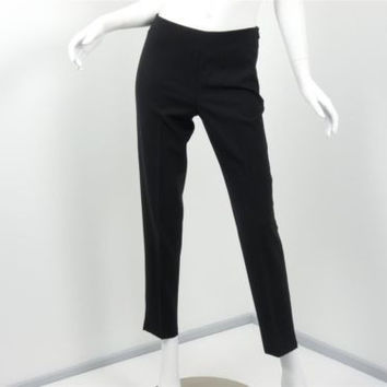 Leggiadro Lightweight  Wool Blend Black Cropped Pants Trousers Inseam 28 Size 6