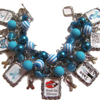 Sexual Abuse Awareness Altered Art Charm Bracelet Teal Blue Beaded Handmade