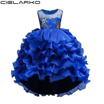 Cielarko Girl Dress Kids Flower Pageant Frock Baby tutu Wedding Party Formal Dresses Children New Year Clothes For Girl