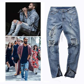 VONC1Y side zipper  design summer stretch Mens Ripped Biker Jeans Demin Pants  Motorcycle Slim Fit Washed elastic hole Joggers trousers