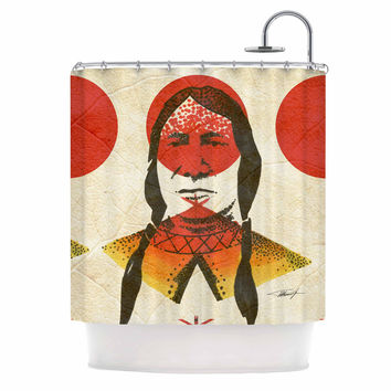 "Ivan Joh ""Indian"" Red Beige Shower Curtain"