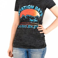 Vintage Inspired 1980s-1990s Vacation Tee | Black Burnout | Aviation Days Vintage T-Shirt