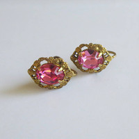 Petite Pink Earrings, Vintage Pink Rhinestone Crystals & Gold Tone Metal, Screw Backs, Sweet!